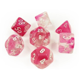 Chessex Dice RPG 7 Set Clear-Pink/White Luminary