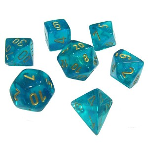 Chessex Dice Borealis 7pc Teal/Gold Luminary